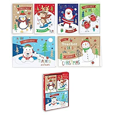 32 x Childrens Small Christmas Xmas Cards Cute Charactors Teacher & Assistant School Friends