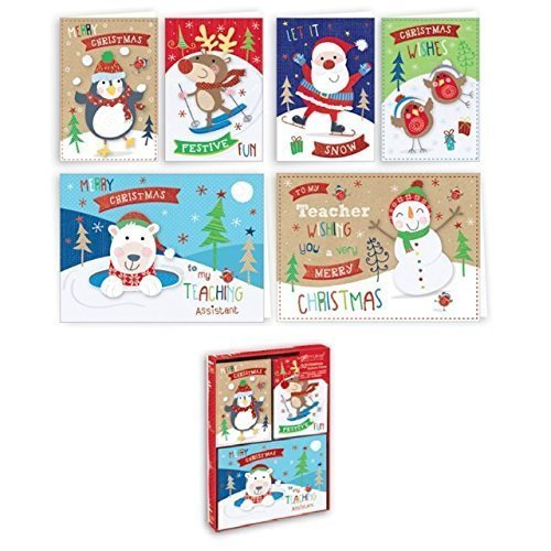 The Home Fusion Company 32 x Childrens Small Christmas Xmas Cards Cute Charactors Teacher amp; Assistant School Friends