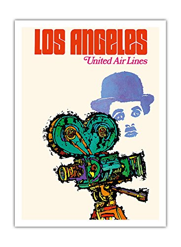 los-angeles-united-airlines-charlie-chaplin-avec-camra-affiche-ancienne-vintage-companie-arienne-pos