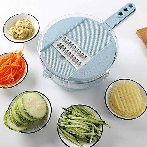 9 in 1 Multifunktions-Gemüseschneider Gemüseschneider Essensschneider Spiralschneider Swift Chopper Cutter mit Handschutz, kann als Eiweiß Trennung verwendet werden blau Swift Chopper