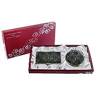 Mère de perle Corée Design Traditionnel (4) conception Loupe Double miroir compact de maquillage avec porte carte crédit Nom de Visite de Gravure Fine en acier inoxydable d'argent cas