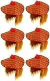 6 x Schottischer Tam O Shanter Tartan Mütze mit Ingwer Haare Herren Verkleidung Erwachsene Unisex