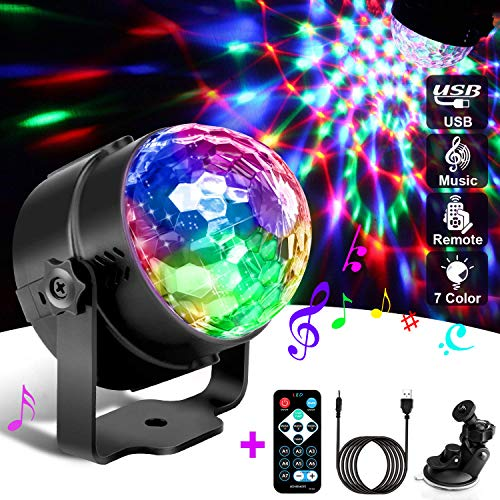 Discokugel, Discokugel Kinder, Led Disco Party Licht Disco Lichteffekte Mit Fernbedienung fürKinder, Kinderzimmer, Partei, Geburtstagsfeier, DJ, Karaoke, Weihnachten, 7 Farbe Rgb 360° Drehbares-GOEU