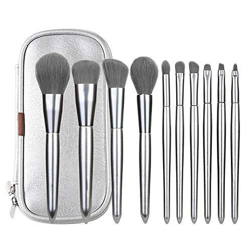 QZY Professionelle Makeup Bürsten Set 10 Pcs Silver Premium Synthetic Make Pinsel für die Stiftung Kabuki Blush Concealer Eye Schatten Mit Speichertasche -