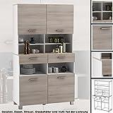habeig Küchenschrank 676 AKAZIE weiß Schrank Küchenregal Küchenmöbel Singleküche Holz