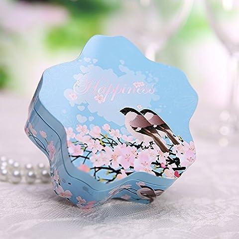 XHDWNBM 20 Pcs Casella Hee-Sugar Creative banda stagnata continentale matrimonio scatola regalo cartuccia di zucchero confezione regalo Wedding-Hi zucchero , scatola di ferro di fiori ciliegio serbatoio scatola (vedi Dettagli) , Dimensione stessa uccello