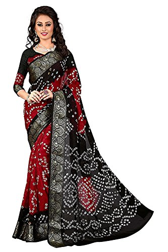 FabDiamond Women Cotton Saree With Blouse Piece (Black Red_Free Size)