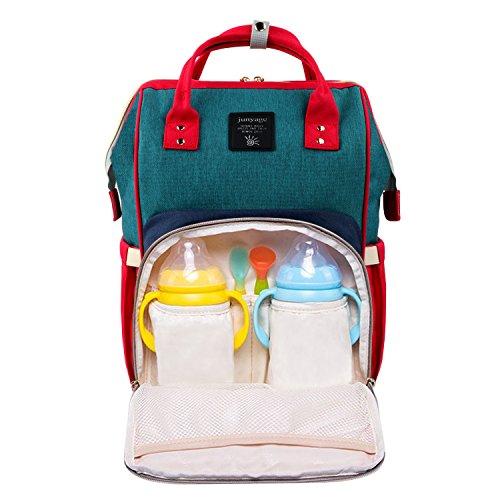 Baby Wickeltasche Wickelrucksäcke,Gintenco Multifunktional Wickeltasche Reise Rucksack für Reisen mit einem hohen Fassungsvolumen(Rot,Blau und Grün) (Rucksack Flasche Isolierte)