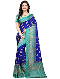 Jaanvi Fashion Women's Peackock Printed Crepe Silk Kalamkari Printed Saree (designer-saree-2018-royal-blue)