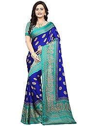 Jaanvi Fashion Women's Peackock Printed Crepe Silk Kalamkari Printed Saree (designer-saree-2018-royal-blue)