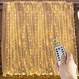 longdafei Vorhang-Lichterketten, 300 LEDs, 3M × 3M, 8 Modi Vorhang-Lichterketten mit USB-Fernbedienung und Batteriebetrieben für Die Dekoration im Innenbereich (Warm White)