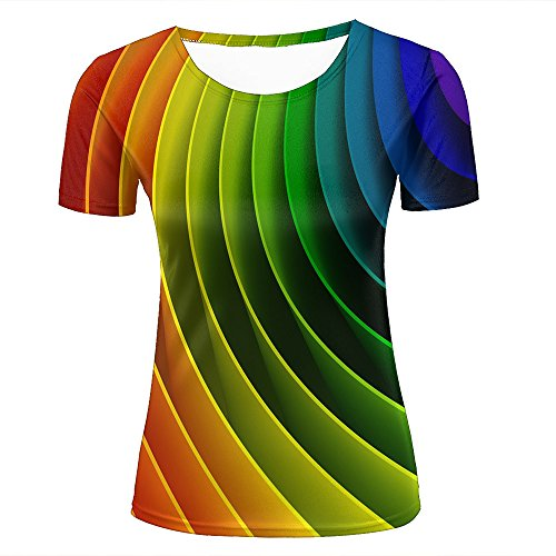 Tee Flash-mens (qianyishop Womens Casual Design 3D Printed Creative Rainbows Printing Graphic Short Sleeve Couple T-Shirts Top Tee S)