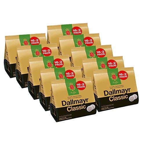 Dallmayr Classic Kaffeepads, für alle Pad Maschinen, Röstkaffee, Sanft, 160 + 20 Pads, á 6.9 g