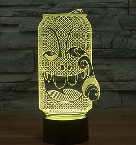 Joplc 3D Dosen geformte Lampe lächelndes Gesicht Tischlampe 3D Vision Lampe Souvenir für Kinder Spielzeug kreative kleine Nachtlicht