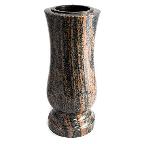 Élégant Tombe Vase en granit véritable gneis barap Halmstad Hauteur 28 cm/ø 12 cm pierre tombale résistant aux intempéries résistant au gel Vase avec insert en plastique cimetière en granit