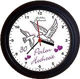 Lucky Clocks TAUBEN ZUM 30. Hochzeitstag PERLENHOCHZEIT lila Wanduhren
