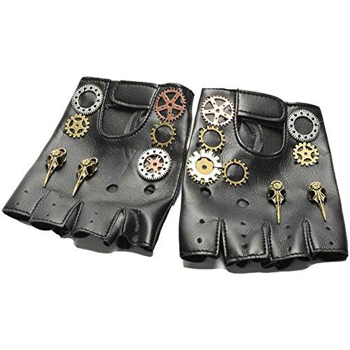 ValuePack Herren Steampunk-Handschuhe Jahrgang Cosplay PU-Leder Halber Finger -