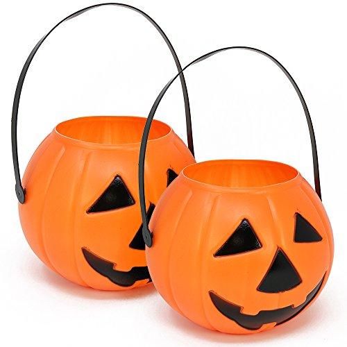 COM-FOUR® 2x Halloween Körbe, Kürbis Eimer zum Sammeln von Süßigkeiten zu Halloween, 22 cm, Ø 15 cm