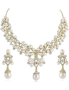 EVER FAITH® österreichischen Kristall Künstliche Perlen Muster Braut Schmuck-Set Gold-Ton