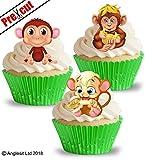 vorgeschnittenen Cute Affen essbarem Reispapier/Waffel Papier Cupcake Kuchen Dessert Topper Kinder Kinder Geburtstag Party African Safari Dschungel Tiere Dekorationen