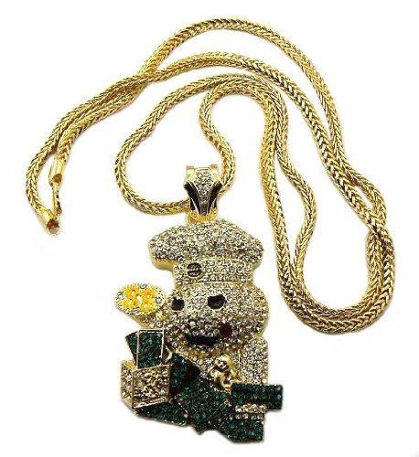 amusant-collier-couleur-or-a-pendentif-du-bonhomme-en-pate-a-biscuit-comptant-son-argent-avec-pierre