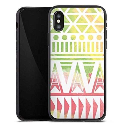 Apple iPhone X Silikon Hülle Case Schutzhülle Muster Bunt Ethno Silikon Case schwarz