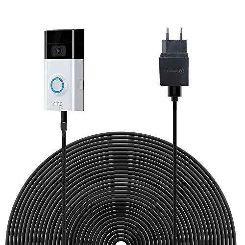 HOLACA Netzteiladapter Ladekabel mit 6 m Anschluss mit Gleichstromadapter kompatibel mit Ring-Video-Türklingel 2, kontinuierlicher Ladevorgang (Ring Video Doorbell 2) Video-netzteil