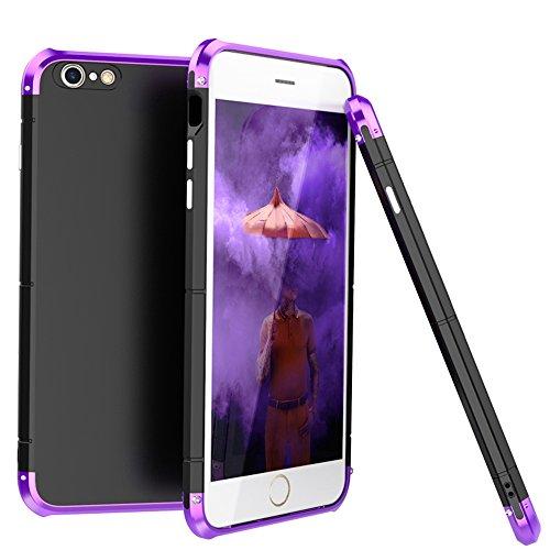 """iPhone 6S Coque , SHANGRUN Aluminium Metal Frame Bumper Coque + PC Matériel Protictive Couvercle housse Etui Protection Case pour iPhone 6 / 6S 4.7"""" Violet Noir+Violet"""