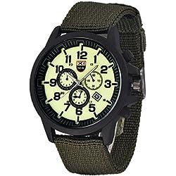Familizo Outdoor Mens Military Canvas Calendar Watches Green + White