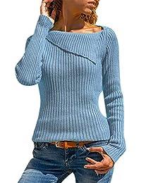 5980f0e4b7d Frauen Rugular Sleeve Stricken Hemd Damen Pullover Bluse Lässig Feste  Langarm Umlegekragen Strick Pullover Tops Moonuy