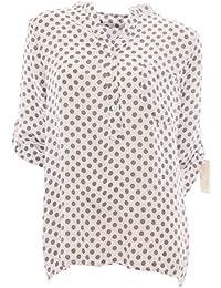 Styled in Italy Bluse Tunika Longbluse mit Punkten Lässige Bluse Fischerhemd  Polka Dots 94eba2b761