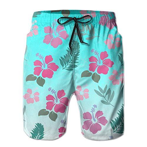 VLOOQ-HX Der Hibiskus-Hawaii-Tropische Blumen-Pflanzen der Männer grundlegender Schwimmen-Stamm -