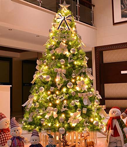 Gjif albero di natale criptato - 1.5/1.8/2.1m albero di natale di pino incandescente di lusso grande ornamento di natale (colore : silver, dimensioni : 180cm)
