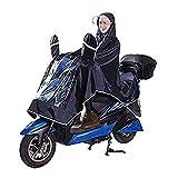 Hommes Femmes Manteau Imperméable à Double Chapeau Poncho de Pluie Oxford Cape Vêtement Veste Anti-pluie Grand Epais Respirant avec Miroir Raincoat Etanche pour Moto Scooter Cyclisme Vélo Equitation