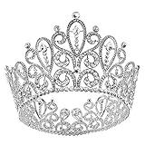 Santfe Tiaras Cristal Crystal Corona Para Novia Boda Feista HG000374,6.5*4.2 Inch