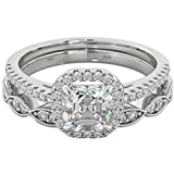 Ladies 925 Sterling Silver Asscher Cut Wedding Engagement Bridal Ring Set L