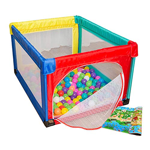 Petit Parc De Bébé avec 100 Balles De Sécurité Pliant pour Bébé Parc avec Matelas Anti-Renversement Centre De Puériculture Kids Play Yard