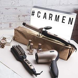 Carmen C80020 Travel Hair Dryer, 1200 W Airflow, 1.6 m Cable, 2 Heat Settings, 2 Speed Settings, Black & Rose Gold