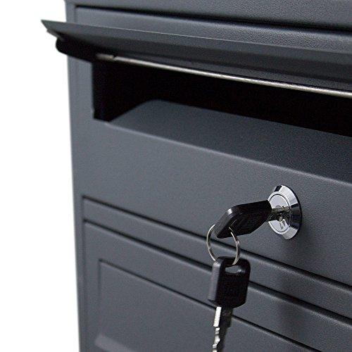 BITUXX® Stand-Briefkastenanlage Postkasten Letterbox Mailbox Doppelt mit 8 Fächer Dunkelgrau Anthrazit - 4
