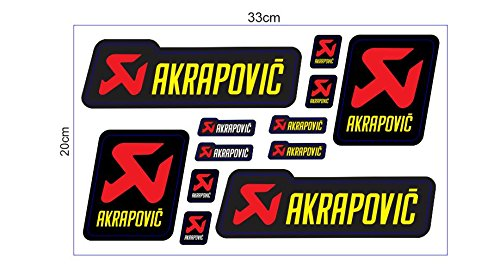1 Set (12 Aufkleber) JDM Akrapovic Racing Sticker Autocollant Pegatinas Motocross BMX Auto Car Bike JDM DUB Tuning Racing