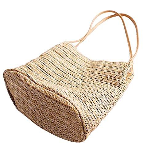 HopeEye Femmes Tendances de la mode Paille Mme sac à bandoulière Sacs à main Femme paille Fait à la main Messenger Bag