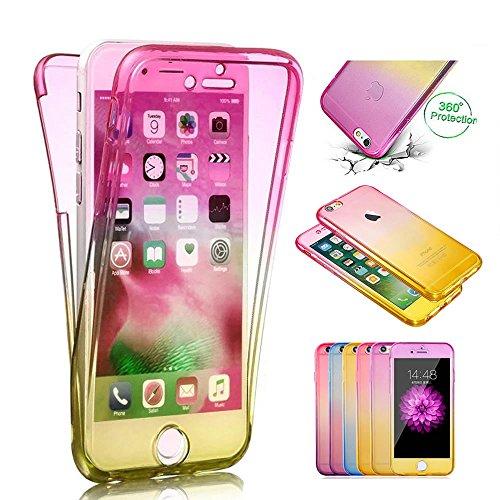 Sycode 360 Gradi Glitter Custodia per iPhone X,Full Body Bling Sparkling Cover per iPhone X,Stilosa Gradiente Colore Morbido Fronte Retro 2 in 1 TPU Silicone Gomma Gel Slim Anteriore E Posteriore Tras Gradiente Full Body Rosa Giallo