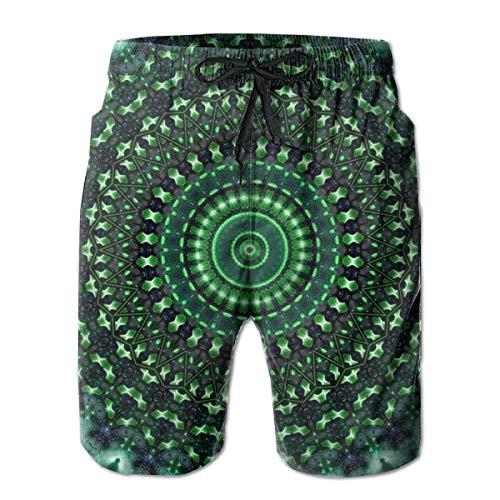 Bañadores para el Verano Mandala Verde Tie Dye Pantalones Cortos de Playa Bolsillos Bañadores para Hombres con Forro de Malla 2XL