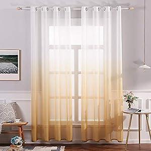 MIULEE Sheer Vorhang Voile Farbverlauf Dekoschal Vorhänge mit Ösen transparent Gardine 2 Stücke Ösenvorhang Gaze paarig…