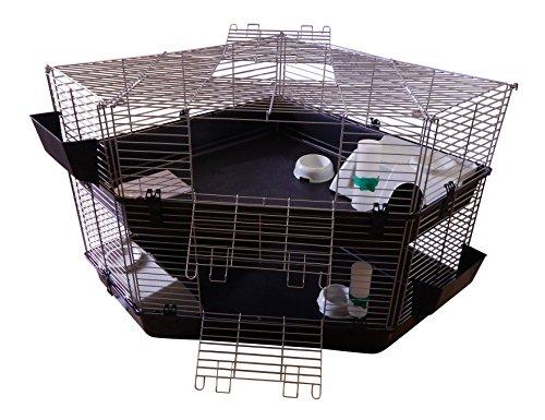 Zoo-Shop 2 Stöckiger Eck Doppel Nagerkäfig Kaninchenkäfig 100 x 100cm -