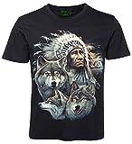 Tiermotiv T-Shirt Indianerhäuptling mit Wölfe Größe L