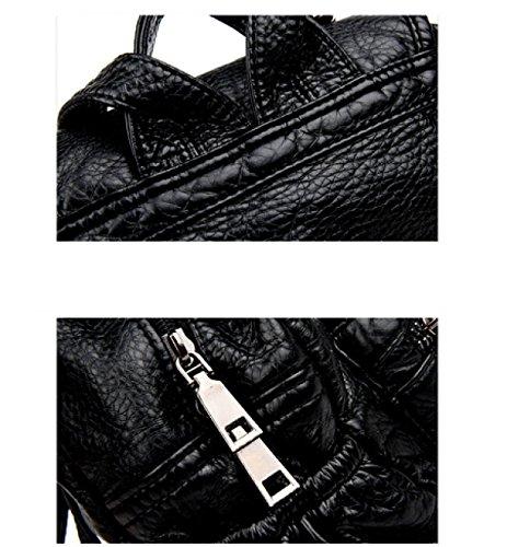 LAIDAYE Retro- Art Und Weise Der Frauen Schultern Weiches Leder Lässig Rucksack 2