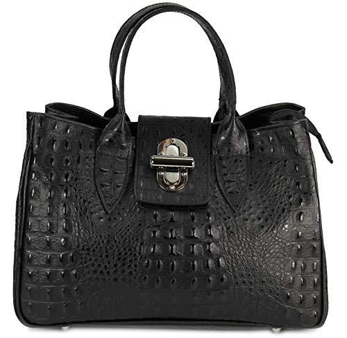 Belli Echt Leder Handtasche Damen Ledertasche Umhängetasche Henkeltasche in schwarz matt Kroko Prägung - 36x25x18 cm (B x H x T) - Schwarze Kroko-handtasche