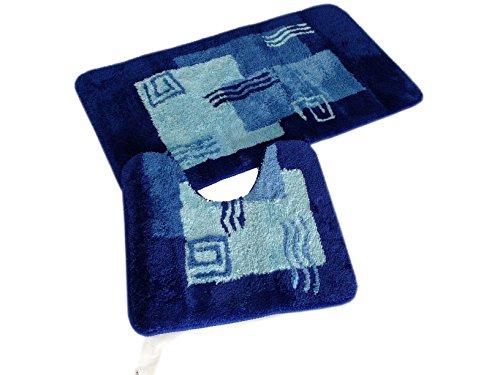 2- teiliges Badematten Set Mailand blau mit Ausschnitt