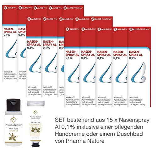 Nasenspray Al 0,1{7b9ce28e06622bf24c1111e6b2afc32ea5ea27f217187c7907289276fce55181} 15er-Sparpackung (15x10ml) inkl. einer pflegenden Handcreme o. Duschbad von Pharma Nature